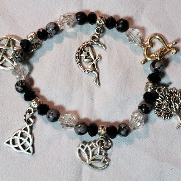 Inspired Silver Trucker Pave Heart Charm Bracelet